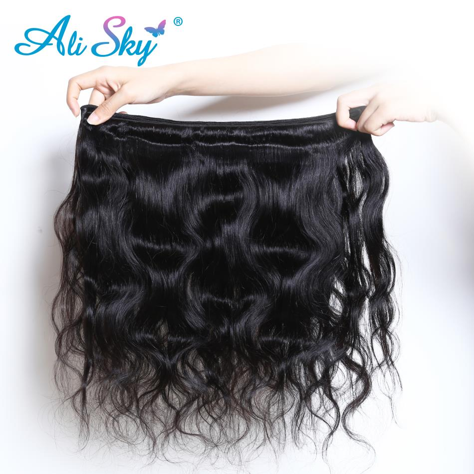 Hair Extensions & Wigs 3/4 Bundles With Closure Ali Sky Brazilian Body Wave 360 Lace Frontal With Bundle Remy Human Hair 3 Bundles Lace Frontal Closure Pre Plucked&baby Hair