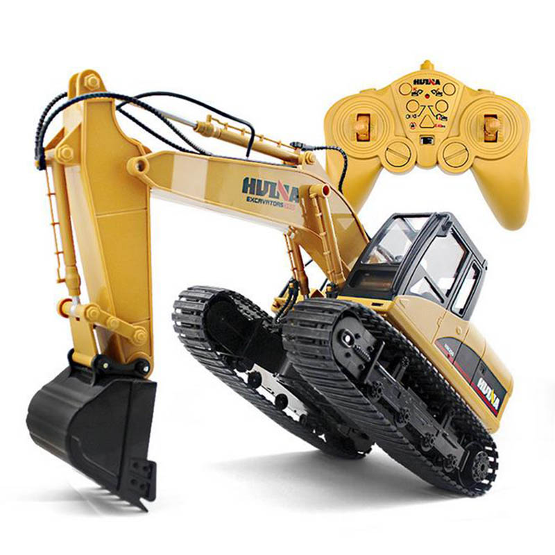 HuiNa Toys 350 15 Channel 2.4g 1/12 Rc Plastic Excavator 1:12 Rc Car With Charging Battery Kid Toy Christmas Gift Free Shipping