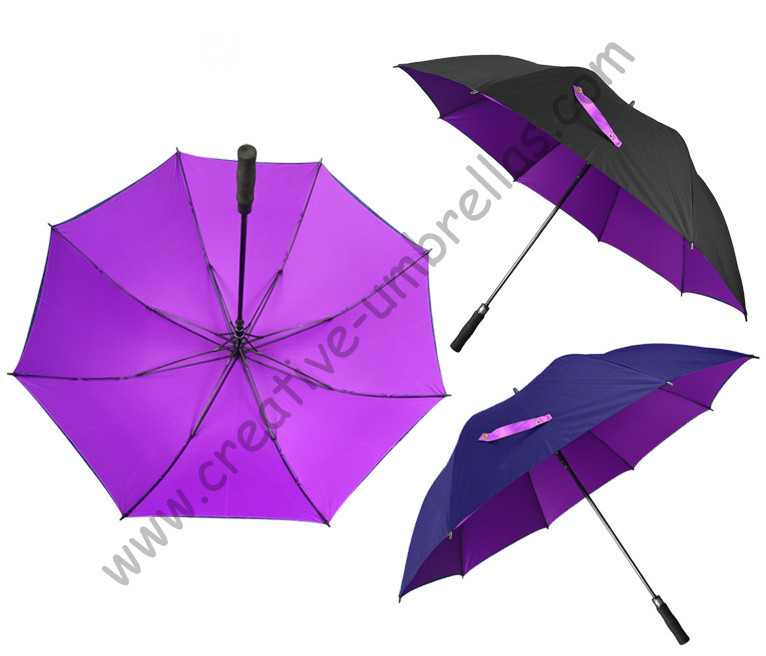 Diameter 130cm 3-4 person golf umbrella visible double layers fabric fiberglass,auto open,anti static,wind resitant,canopy