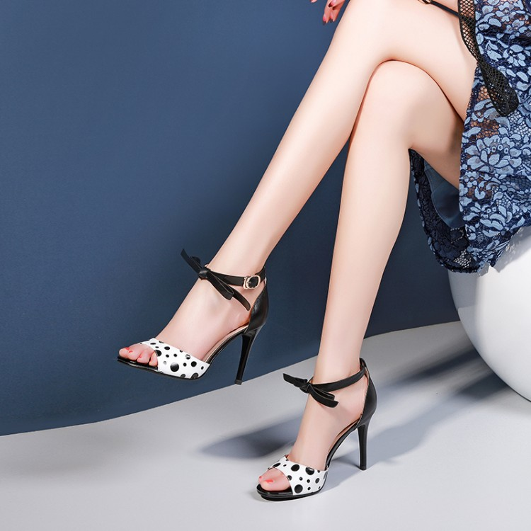 MLJUESE 2019 women sandals Sheepskin Polka dot black Gladiator slingbacks open toe thin heel high heels