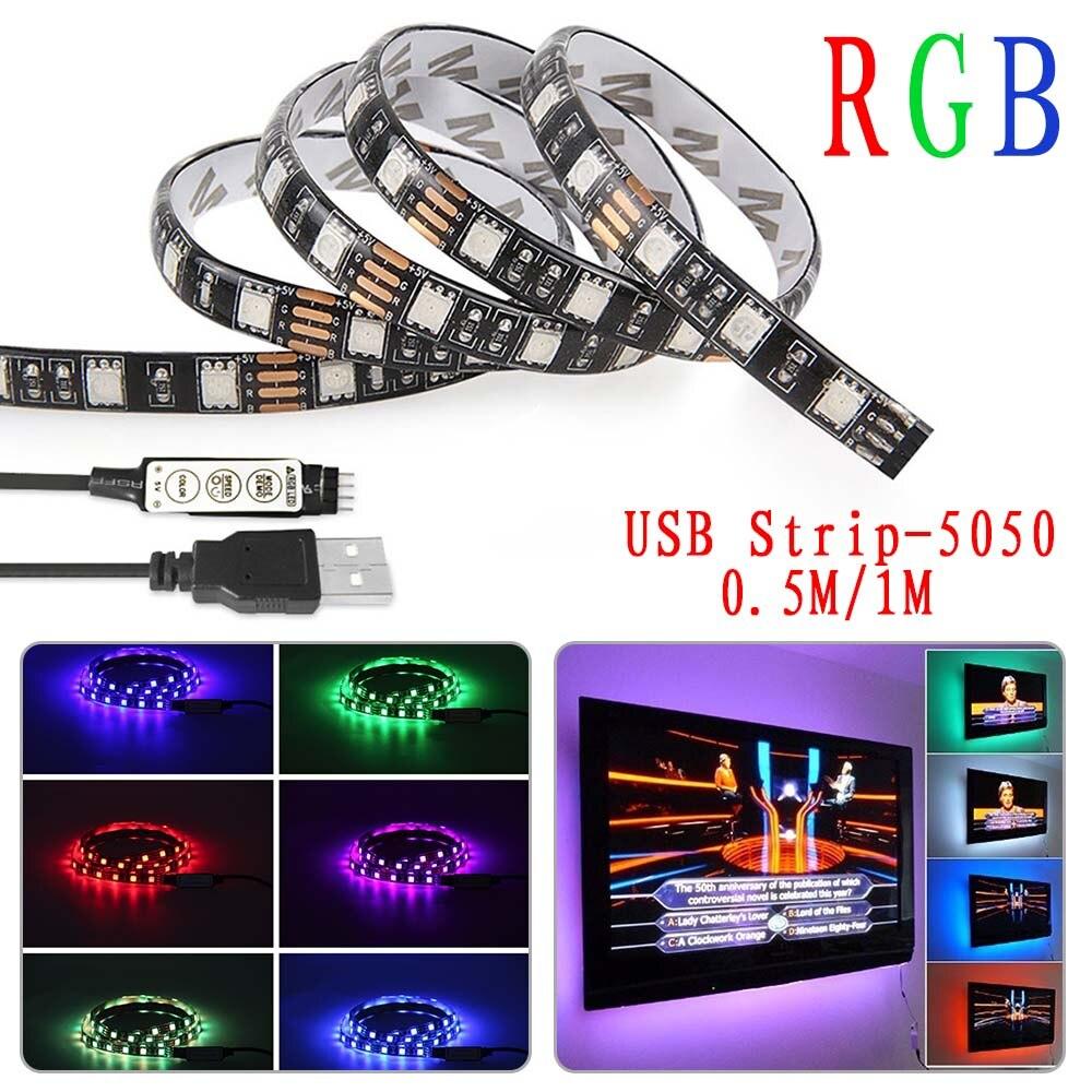 DC5V USB LED strip 5050 RGB Flexible Light 0.5M 1M TV Background Lighting RGB LED strip IP65 waterproof 3 keys Mini Remote