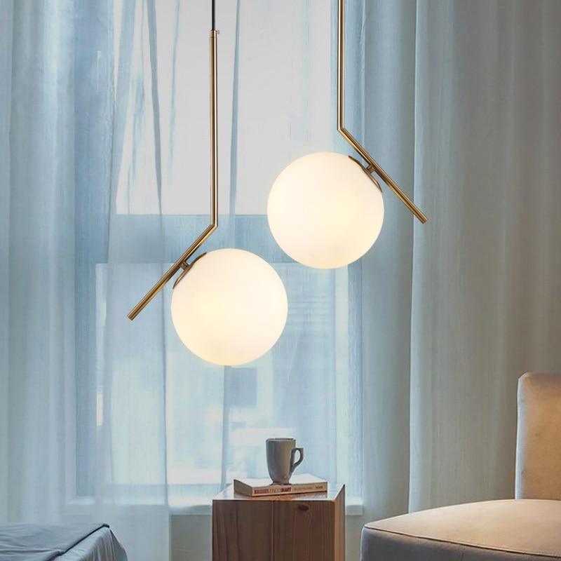 Nordic Globe Round Pendant Light For Living Room Glass Ball Lamp Shade Pendant Lamp Kitchen Light Restaurant Hanging Lamp E27