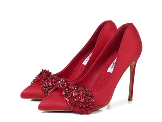 Luxurious crystal butterfly-knot pointed toe high heel pumps for women Classic ladies thin high heels Red wedding shoes