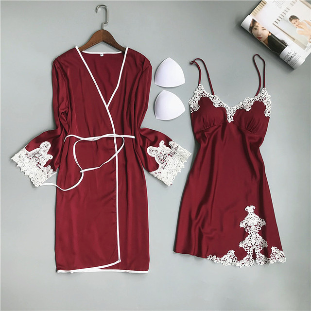 Summer Ice Silk Women Pajamas Sexy Lace with Chest Pad Nightdress Robe Pijamas Twinset Pyjamas Womens Loungewear Robes Sleepwear