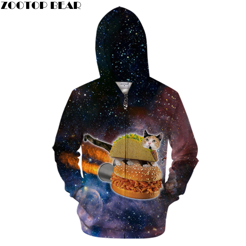 Hot Sale Cat Zipper Hoodies Galaxy Men Women Sweatshirts Hooded Brand Hoodie Plus Size Streetwear ZOOTOP BEAR Drop Shop