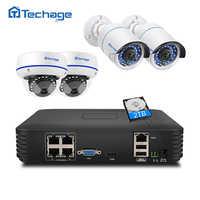 Kit de NVR Poe Techage 4CH 1080P HDMI sistema de seguridad CCTV 2MP ir-cut Interior Exterior CCTV domo IP Cámara P2P videovigilancia
