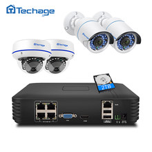 Techage 4CH 1080P HDMI POE NVR Kit Beveiliging Cctv-systeem 2MP IR-Cut Indoor Outdoor CCTV Dome IP camera P2P Video Surveillance Set(China)
