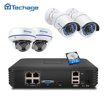 Techage видеонаблюдения Системы 4CH 1080 P POE NVR 2MP открытый Крытый купольная POE IP Камера ИК ночного P2P видеонаблюдения комплект 1 ТБ