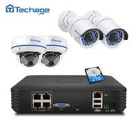 Techage 4CH 1080 P POE NVR безопасности Камера Системы 1080 P 2MP ИК внутренняя и наружная система видеонаблюдения Купольная POE IP Камера P2P видео набор для н...
