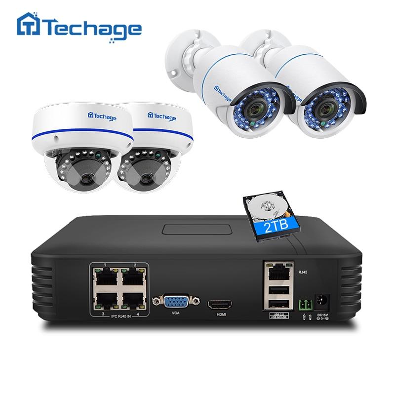 Techage 4CH 1080P HDMI POE NVR Kit Security CCTV System 2MP IR-Cut Indoor Outdoor CCTV Dome IP Camera P2P Video Surveillance Set