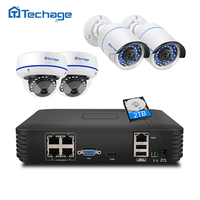 Techage 4CH 1080P HDMI POE NVR Kit Security CCTV System 2MP IR Cut Indoor Outdoor CCTV Dome IP Camera P2P Video Surveillance Set
