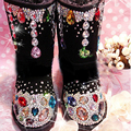 Free Shipping  colorful gems Rhinestone kids crystal baby girl's bling bling Snow Boots children warm Shiny fashion Winter Shoes
