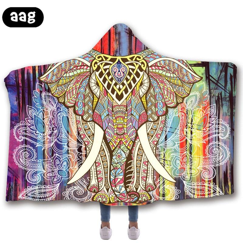 3d Printed Hooded Blanket Magic Cloak PlushWarm flannel Sherpa fleece blanket hooded Wearable women babykid adult Throw