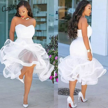 White Sweetheart Sleeveless Short Evening Dress Tiered Ruffles Plus Size Tea-Length Formal Evening Party Dresses robe de soiree