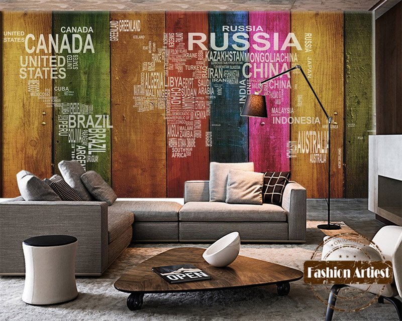 Custom 3d wallpaper mural vintage color wooden board world - Living room cafe menu philadelphia ...