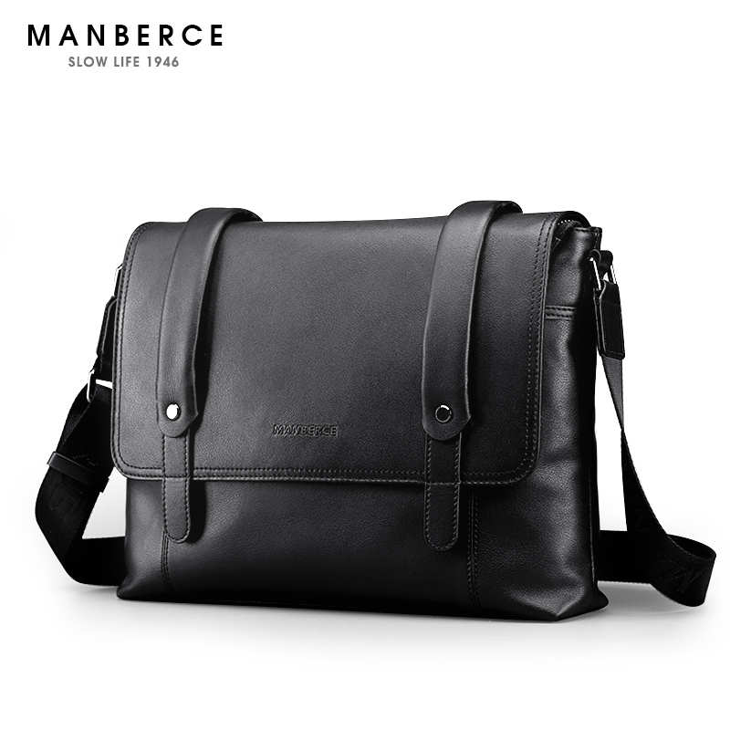 MANBERCE 2017 New Hot Men Shoulder Bags Brand Genuine Leather  Messenger Bag Men's Business Casual Travel Bags Free Shipping цена и фото