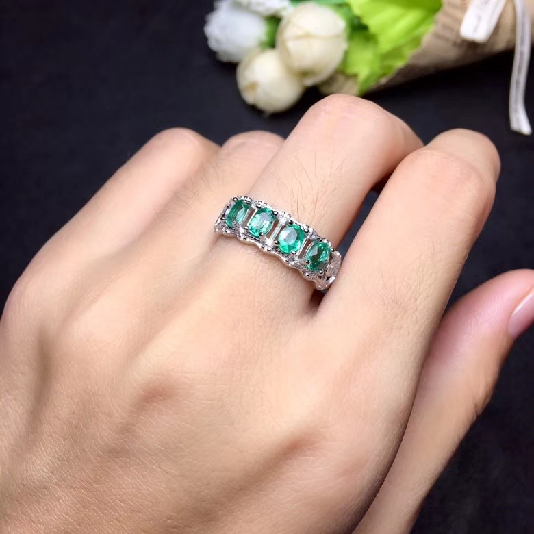 Natural green emerald gem Ring Natural gemstone gem ring S925 silver Elegant row transverse women girl gift party fine Jewelry elephant faux gem beaded ring