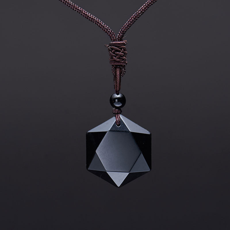 Bruce Accept Drop Shipping Natural Energy Stone Black Obsidian Six Stars Lucky Amulet Necklace Pendant Protect your safety Love