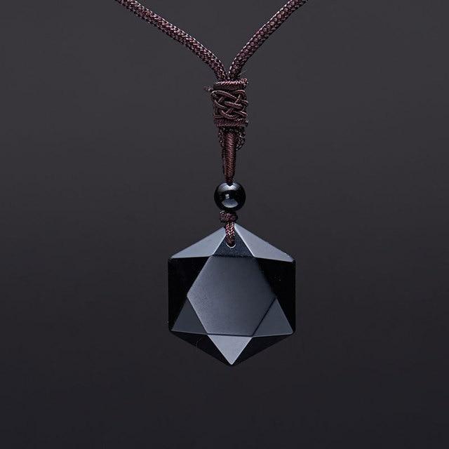 Bruce Chấp Nhận Drop Shipping Vận Chuyển Tự Nhiên Đá Năng Lượng Đen Obsidian Sáu Sao May Mắn Amulet Necklace Mặt Dây Chuyền Bảo Vệ sự an toàn của bạn Tình Yêu
