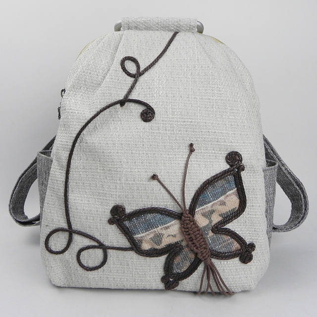 Fashion Featured Women Handmade Backpack Goldfish Butterfly Femme Ethnic Embroidery Girl Holiday Gift Elegant Lovely Travel Bags