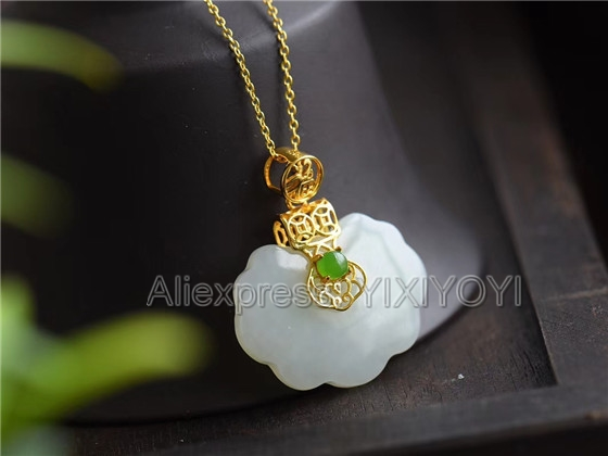 925 Sterling Silver White Green HeTian Jade Inlay Lock Design Blessing Lucky Pendant + Chain Necklace Charm Fine Jewelry Gift 925 silver natural white white hetian jade beads inlay flower dangle lucky pendant necklace ring elegant woman s jewelry set