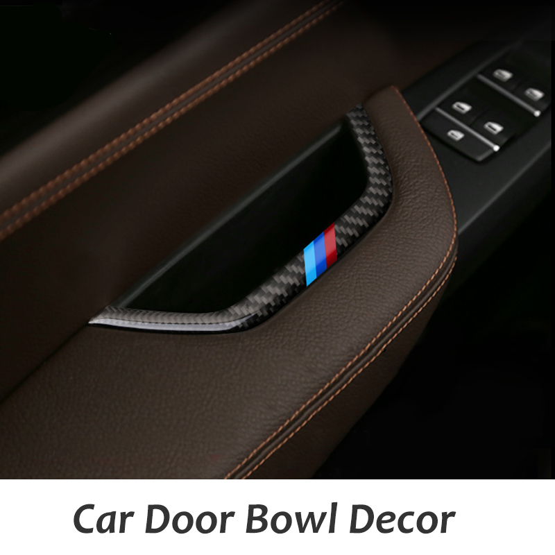 Carbon Fiber Car Door Bowl Stickers Strips Inner Handle Trim Decor Storage Case Decorations for BMW X3 F25 X4 F26 2011-2016