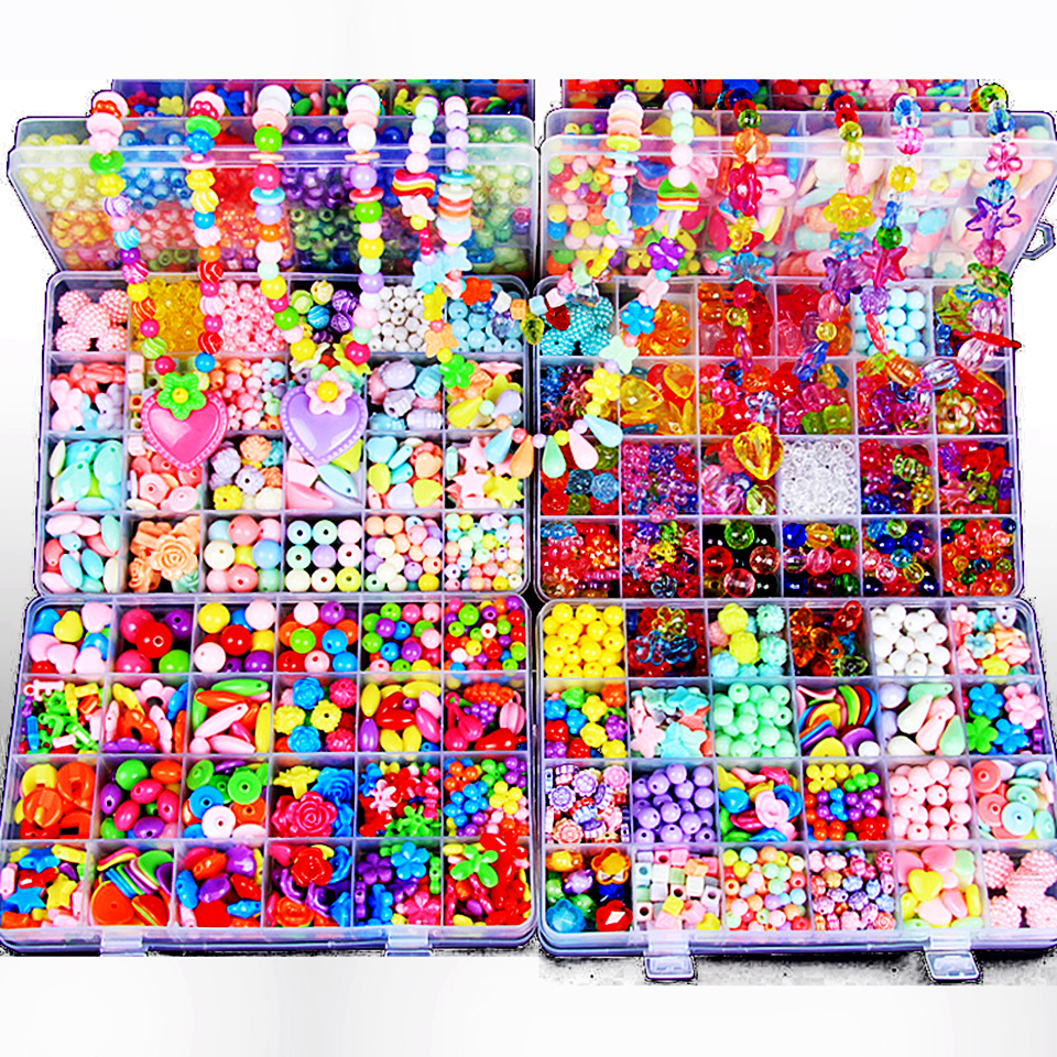 Creative Material DIY Beades Toys With Box Whole Accessory Set Kids Girls Handicrafte Art Crafts  Educational Toys For Children