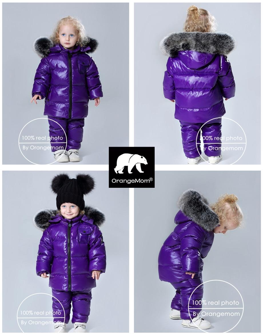 Image 2 - 2019 winter jacket coat +pants 2 pcs/sets children clothing 1 12Y korean kids clothes boys girls outerwear big fur-in Down & Parkas from Mother & Kids