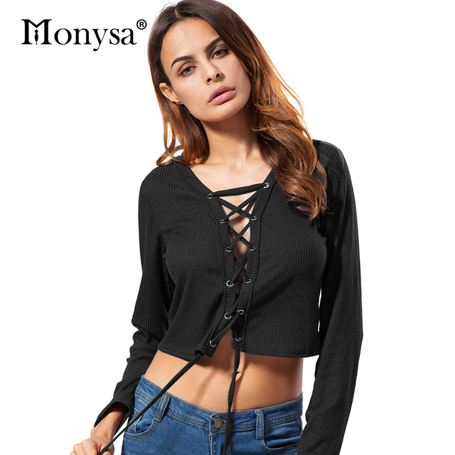 ee9823174a Lace Up Crop Top Women Fashion Trends Long Sleeve Knitted Pullovers For  Women Casual Clothing New Arrival 2017 Autumn Black Red