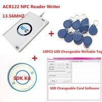 NFC USB ACR122U A9 RFID Smart Card Reader & Writer+ 10pcs 13.56mhz UID changable zero 0 sector IC Card+ SDK Kit +Free Shipping