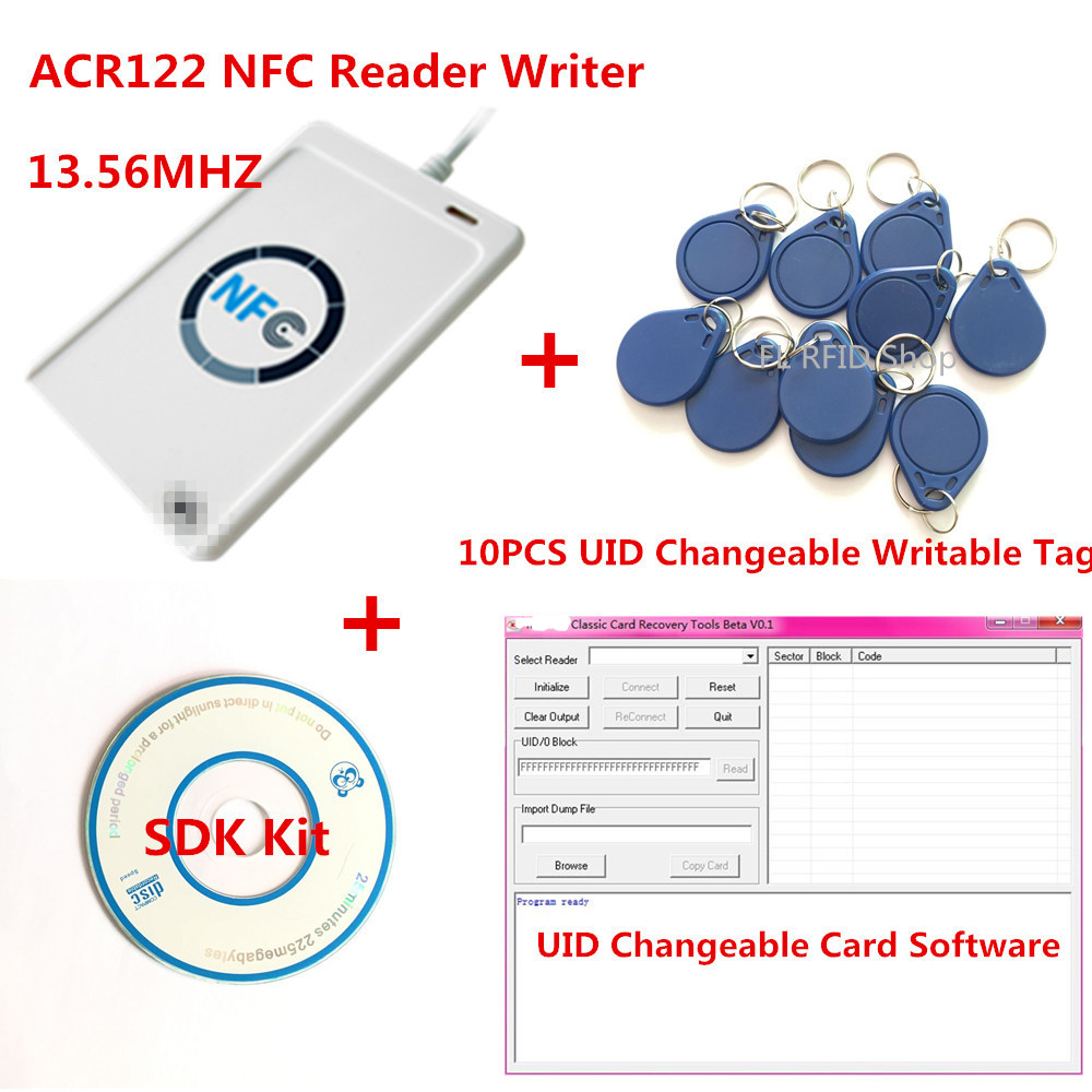NFC USB ACR122U-A9 RFID Smart Card Reader & Writer+ 10pcs 13.56mhz UID changable zero 0 sector IC Card+ SDK Kit +Free Shipping