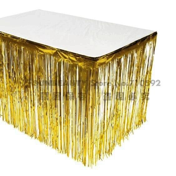 9 ft. x 29Metallic Fringe Table Skirt Foil Tinsel Table Skirt for Birthday Graduate Wedding Anniversary Nursary Table Decor