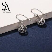 SA SILVERAGE, настоящее 925 пробы, серебряные, полые серьги-капли для женщин, хорошее ювелирное изделие, 925, серебряные, с цветочным шариком, большие, длинные серьги, наборы