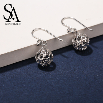 SA SILVERAGE Real 925 Sterling Silver Hollow Drop Earrings for Women Fine Jewelry 925 Silver Flower Ball Big Long Earrings Sets sa silverage silver set 925 black stone star necklace and earrings set for female women pure silver jewelry s925 birthday gift