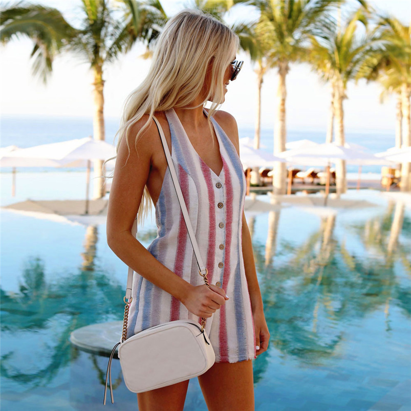 2018 Women Rompers New Brand 1PC Sexy Party Beach Jumpsuits Summer Mini Print Bodysuit Casual feminino Playsuit Whloesale #FJ05