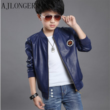 New 2016 Autumn Fashion Boys Faux Leather Jackets Coat Kids Trendy Motorcycle Tops Outwear For 5-14Y