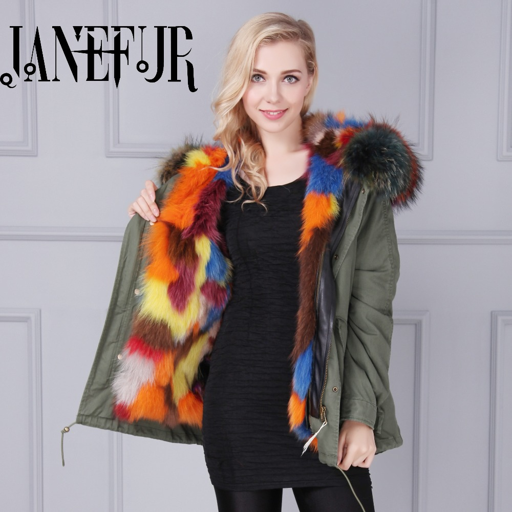 women's army green Large raccoon fur collar hooded coat parkas outwear detachable fox fur lining winter jacket brand style 2017 winter new clothes to overcome the coat of women in the long reed rabbit hair fur fur coat fox raccoon fur collar