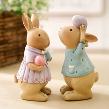 Love Style Fairy Garden Miniature Rabbit Figurines Mini Rabbits Resin Crafts Home Decoration Ornaments Wedding