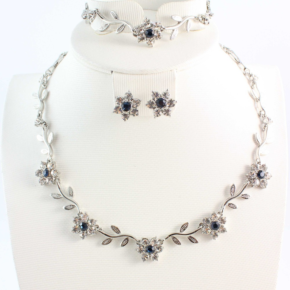 Free Shipping Crystal Silver Plated Noble Crystal Flower Jewelry Necklace Bracelet Earring Set For Women