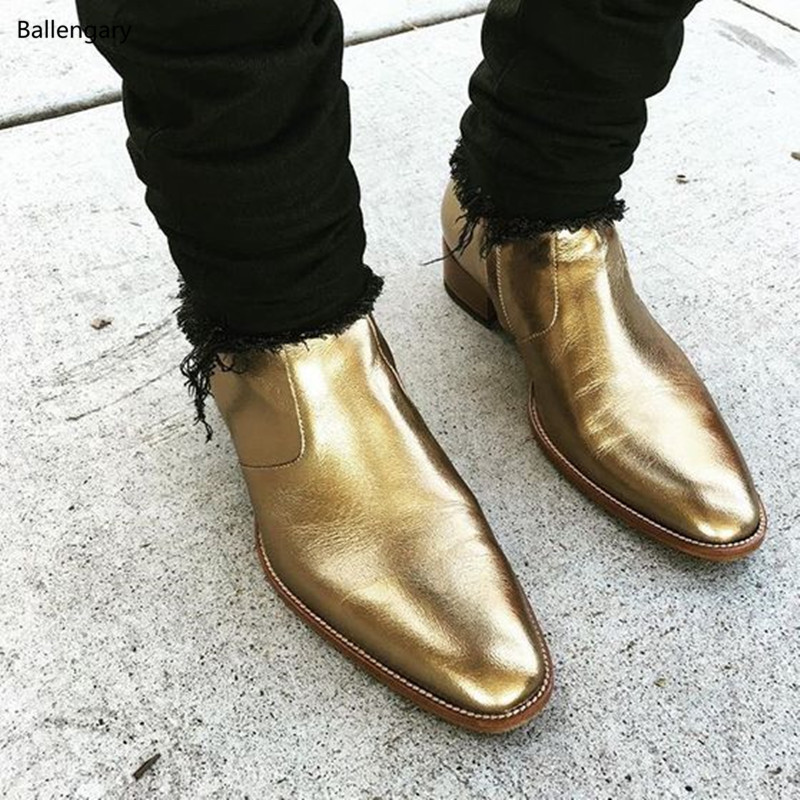 f40bb59f9465 Metallic Gold Silver Soft Leather Pointed Toe Anke Boots Stacked Chunky Heel  Chelsea Boots Street Fashion Men Shoes