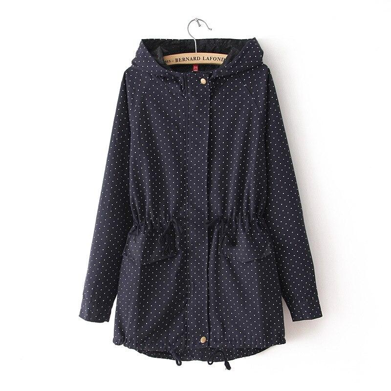 2018 New Hot Sale Women   Trench   Coat Spring Autumn Europe Cute Polka Dots Coat Windbreaker Female TR028
