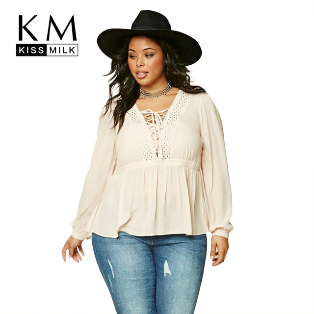 b42d457ce Kissmilk Plus Size Fashion Women Clothing Casual Solid Sexy Tied Blouse  Shirt V-Neck Long