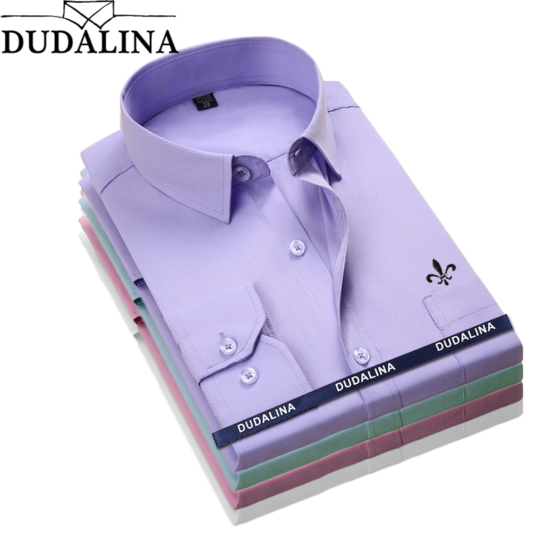 Dudalina 2019 Men Shirt Long Sleeve Fashion Classical Solid Striped Twill Male Formal Work Shirts Brand Dress Shirt Man Pocket