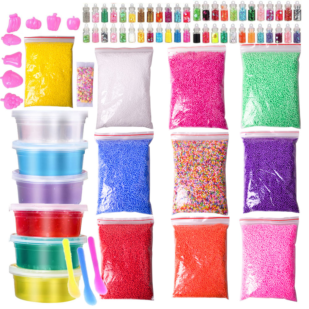 76 Packs DIY Slime Kit , Floam Beads , Glitter Jars, Slime Charms , Fruit Slices , Decorative DIY Art Craft for Home Slime Toy