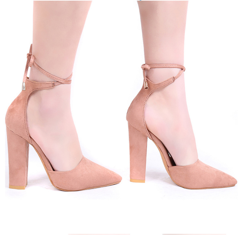2018 spring new women shoes basic style retro fashion high heels pointed toe office & career shallow footwear women pumps