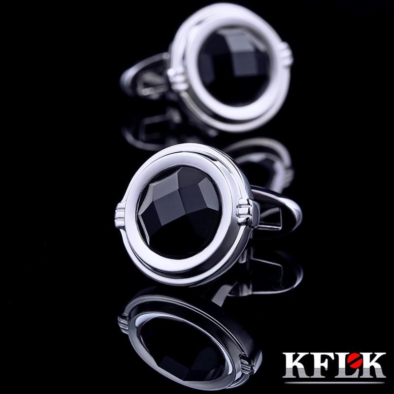 KFLK სამკაულები 2016 საფრანგეთის პერანგის სამაგრი მამაკაცებისთვის ბრენდი Black Cuff ბმული Luxury Wedding Groom Button მაღალი ხარისხის უფასო გადაზიდვა