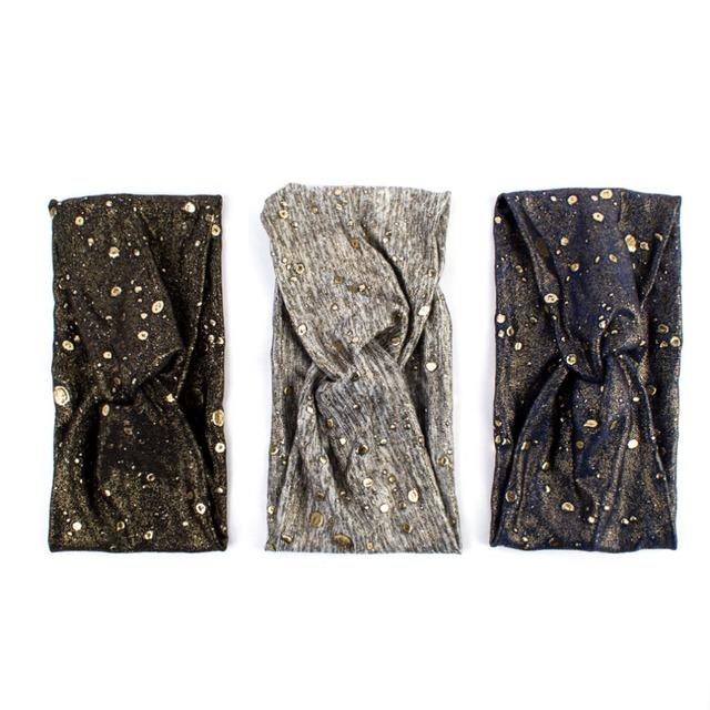 Women's Golden Confetti Wide Yoga Headband  3 styles