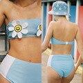 2019New Sexy Empurrar Para Cima do Biquíni Definir Cintura Alta Corda Tong Ins Menina Sorriso Girassol Brasileira Mulheres Swimsuit Praia de Banho Swimwear