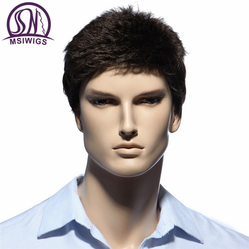 MSIWIGS Straight Short Men Wigs Heat Resistant Fiber Dark Brown Natural Hair Male Synthetic Wig Black Color Men Toupee