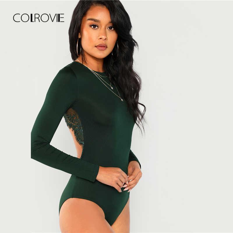 COLROVIE зеленый Твердые спинки с длинным рукавом пикантные кружево боди для женщин Осень Элегантный женский Офис основной Тощий боди